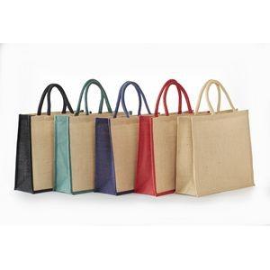 XL Heavyweight Jute shopping bag wood closing button Eco-Friendly Rope Handle
